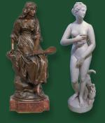 Антиквариат: скульптура - бронза и мрамор
